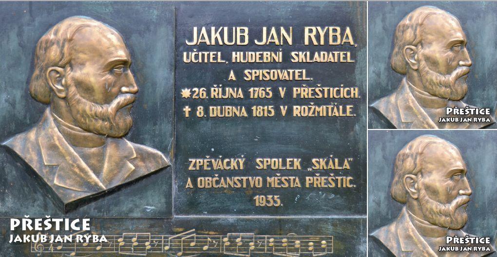 """<p rel=""""noopener"""" class=""""number"""">022  <p rel=""""noopener"""" class=""""right"""">Přeštice   </p> <p><x>Jakub Jan Ryba<br />(26. 10. 1765 – 8. 4. 1815) Přeštický rodák, osvícenský pedagog, hudební skladatel a spisovatel. Známý především Českou mší vánoční Hej, mistře!"""