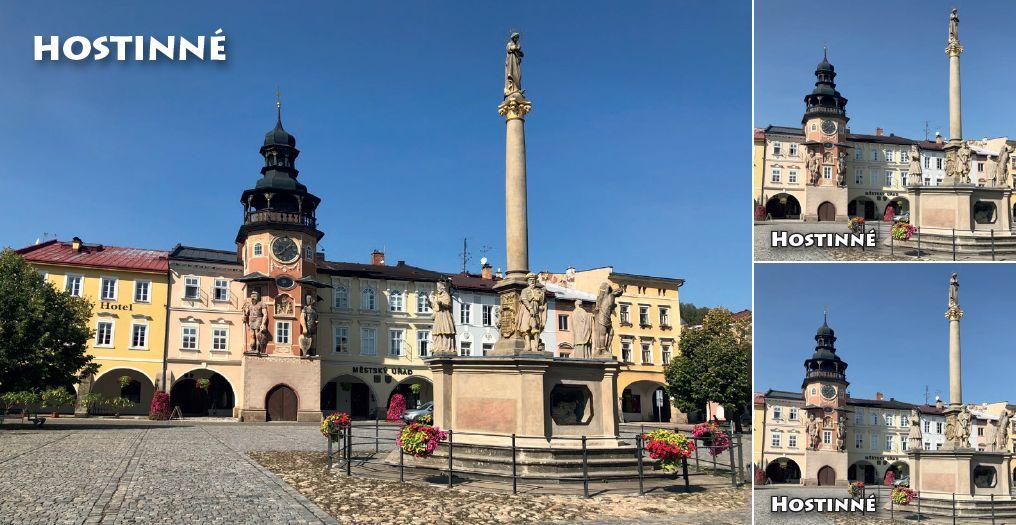 """<p rel=""""noopener"""" class=""""number"""">031  <p rel=""""noopener"""" class=""""right"""">Hostinné   </p> <p><x><br />Hostinné Centrum města je tvořeno náměstím, obklopeným měšťanskými domy. Na jeho západní straně je umístěna budova renesanční radnice a uprostřed náměstí se nachází raně barokní Mariánský sloup, postavený v roce 1678."""