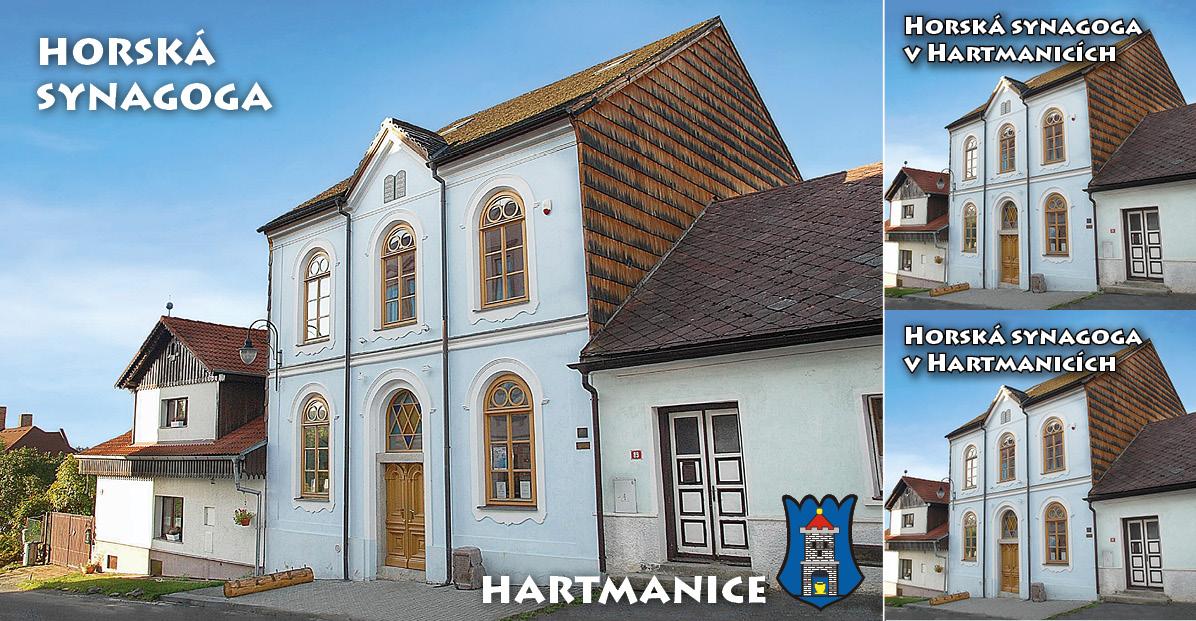 """<p rel=""""noopener"""" class=""""number"""">051  <p rel=""""noopener"""" class=""""right"""">Hartmanice   </p> <p><x>Horská synagoga v Hartmanicích<br />Synagoga sloužila od roku 1883 více než 200 obyvatelům židovské obce. O záchranu stavby se zasloužilo sdružení Památník Hartmanice. V roce 2006 byla synagoga slavnostně otevřena a po téměř 70 letech zpřístupněna veřejnosti. <a href=""""http://www.hartmanice.cz/cz/"""">www.hartmanice.cz/cz/</a>  <ul> <li>Městské informační středisko Hartmanice<li> <li>Tel.: +420 376 593 059<li> <li>E-mail: <a href=""""mailto:is@muhartmanice.cz"""">is@muhartmanice.cz</a><li> <li><a href=""""http://www.muhartmanice.cz"""">www.muhartmanice.cz</a><li> </ul>"""