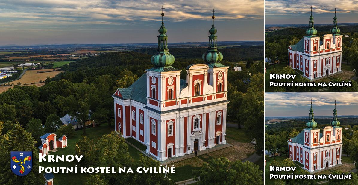"""<p rel=""""noopener"""" class=""""number"""">082  <p rel=""""noopener"""" class=""""right"""">Krnov Poutní kostel na Cvilíně   </p> <p><x>Poutní kostel na Cvilíně byl postaven v letech 1722–1728. Tento barokní chrám je dílem místních stavitelů. Areál kostel Panny Marie Sedmibolestné s křížovou cestou byl v roce 2018 vyhlášen národní kulturní památkou.<br />Foto: Město Krnov / TIC Krnov <a href=""""http://www.infokrnov.cz"""">www.infokrnov.cz</a>"""