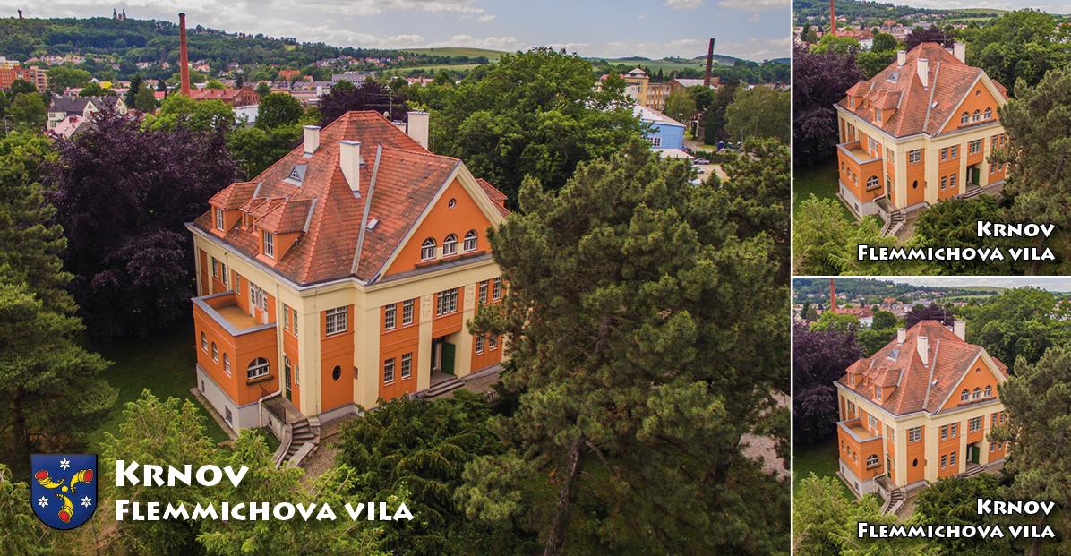 """<p rel=""""noopener"""" class=""""number"""">086  <p rel=""""noopener"""" class=""""right"""">Krnov Flemmichova vila   </p> <p><x>Flemmichova vila je neoklasicistní rezidence, kterou si nechal vystavět krnovský továrník Theodor Flemmich podle projektu vídeňského architekta Otto Prutschera v roce 1914. V současné době se zde nachází muzeum.<br />Foto: Město Krnov / TIC Krnov <a href=""""http://www.infokrnov.cz"""">www.infokrnov.cz</a>"""